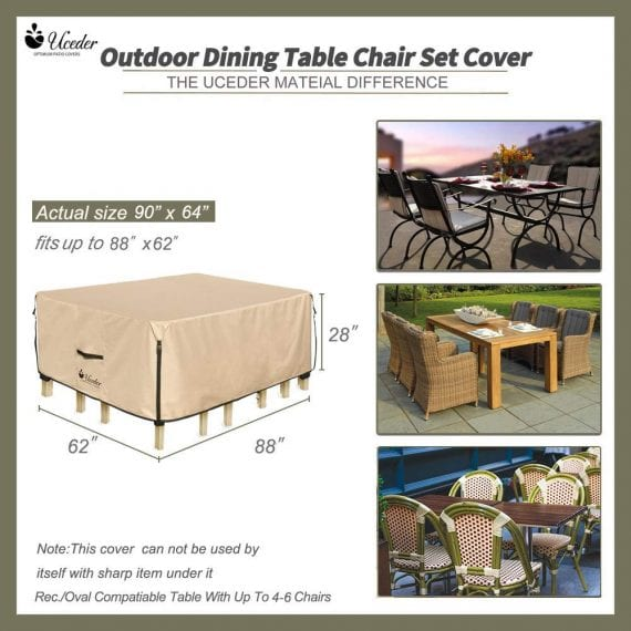 Rectangular Waterproof Outdoor Dining Table Covers