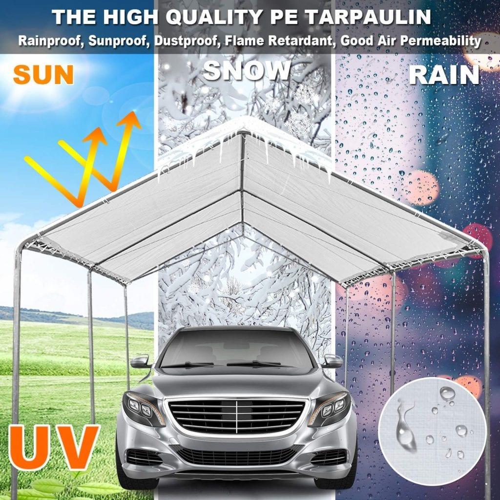 Galsoar Heavy Duty Carport Car Canopy Shelter