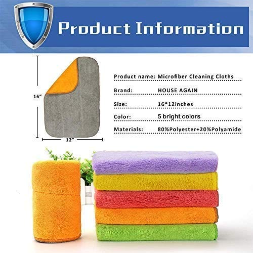 HOUSE AGAIN5 Extra Thick Microfiber Cleaning Cloths