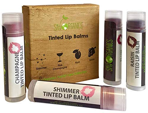 Tinted Lip Balm by Sky Organics - 4 Pack Champagne Color