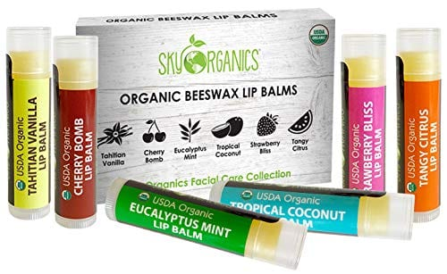 USDA Organic Lip Balm by Sky Organics – 6 Pack Assorted Flavors