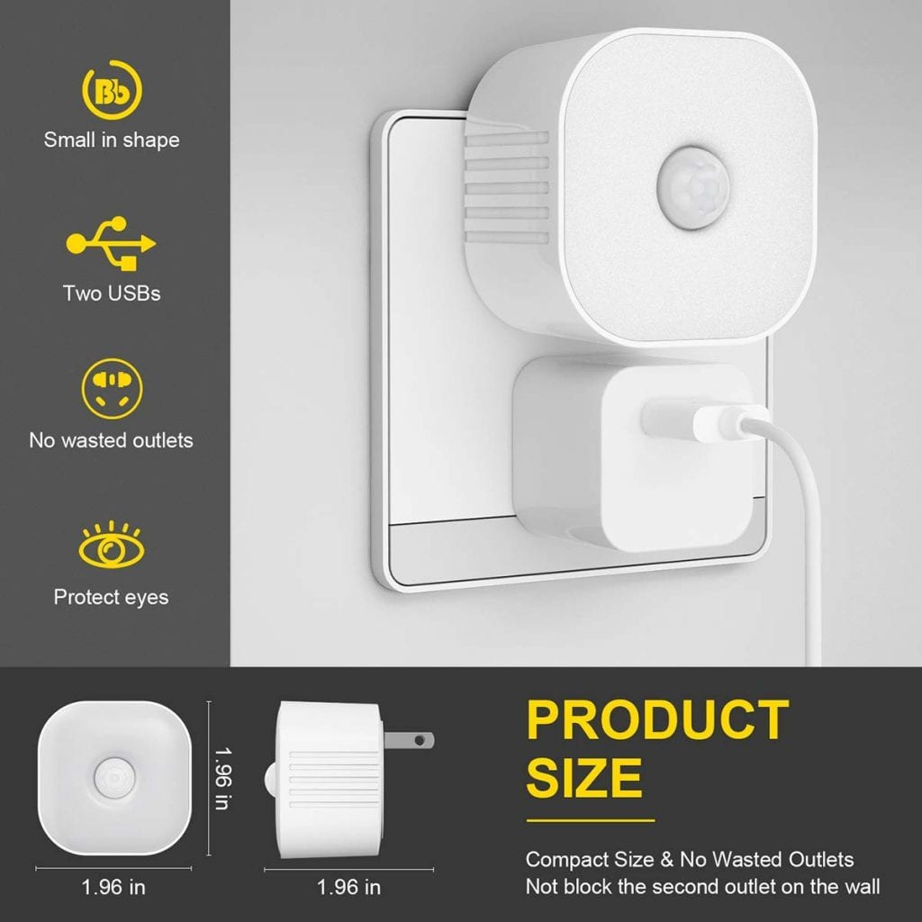 Antenors 2-outlet motion sensor night light
