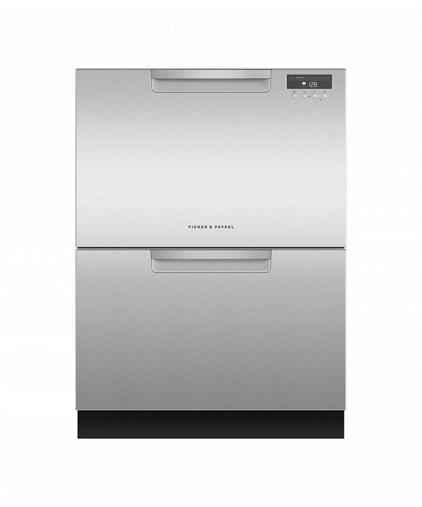 Double Dishwasher with stainless recessed Handle by Fisher & Paykel