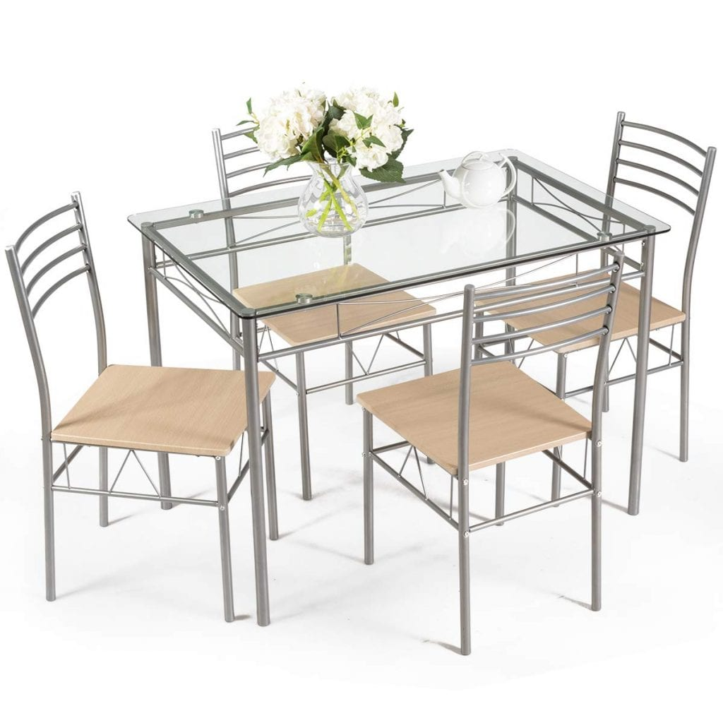 Giantex Dining Set Table and 4 Chairs Glass