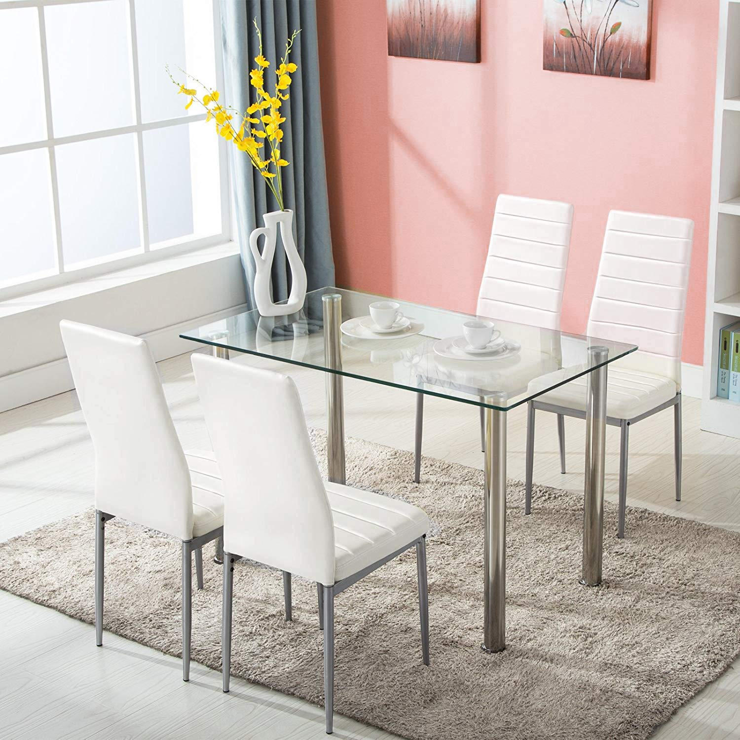 JOYBASE Tempered Dining Glass Top Table with 4 Leather Chairs