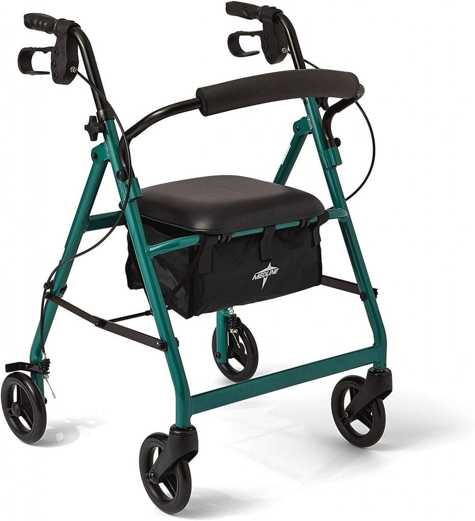 Medline Folding walkers with seat and wheels