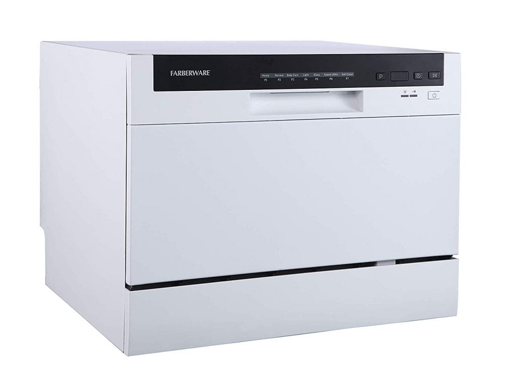 White Compact Countertop Dishwasher by Farberware Professional with silverware Basket, energy star, 6-place settings, LED display