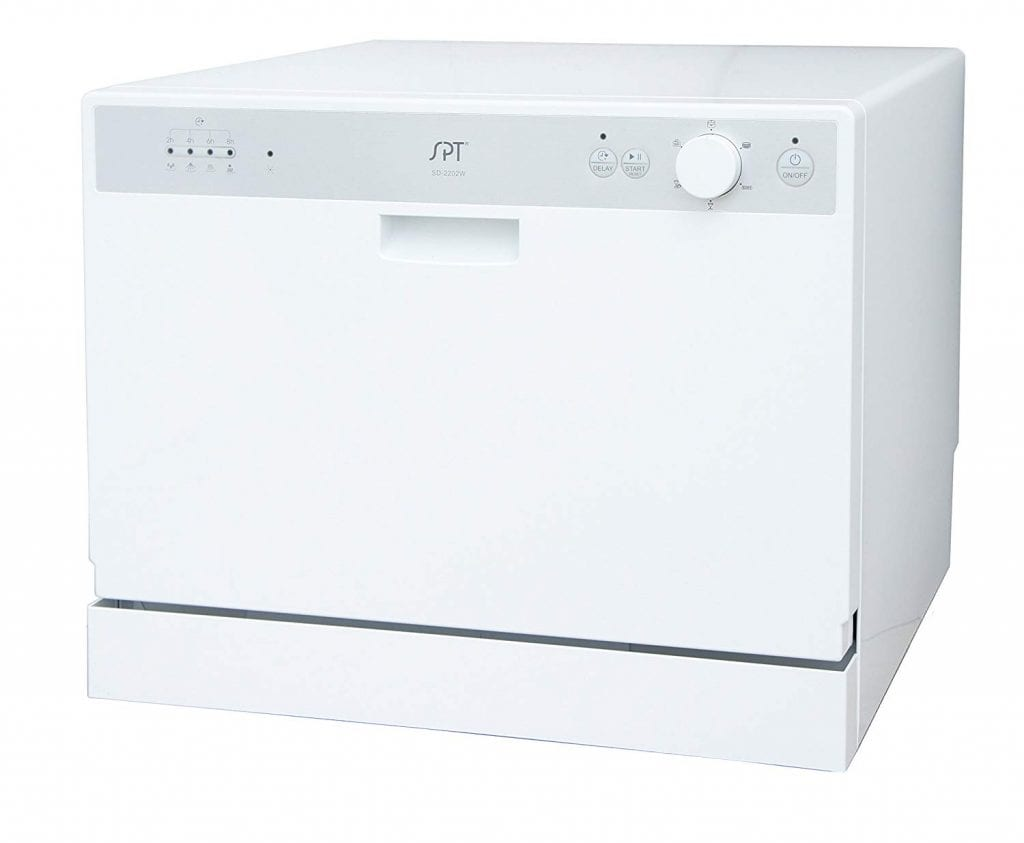 White, Gray Countertop Dishwasher by Supentown with Delay Start