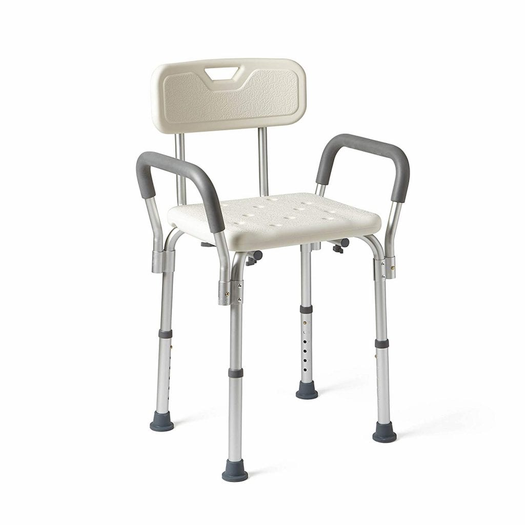 Medline Shower Chair Bath Seat with Padded Armrests and Back