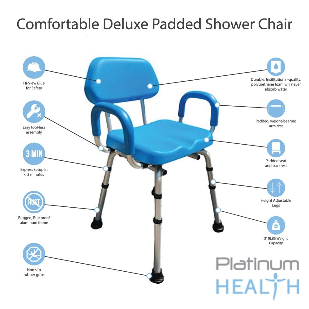 Platinum Health Shower Chair with Armrests and Back
