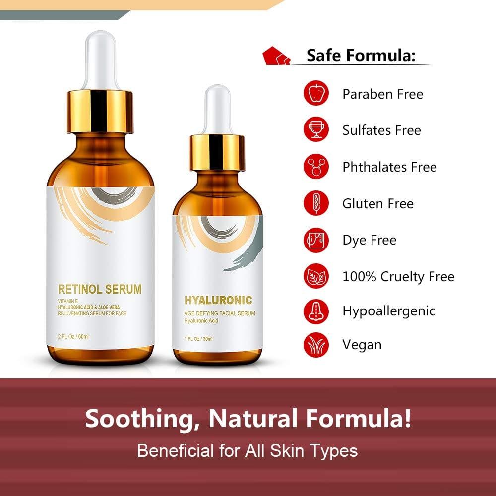 WUMAL Retinol Serum 2.5% and Hyaluronic Acid Serum