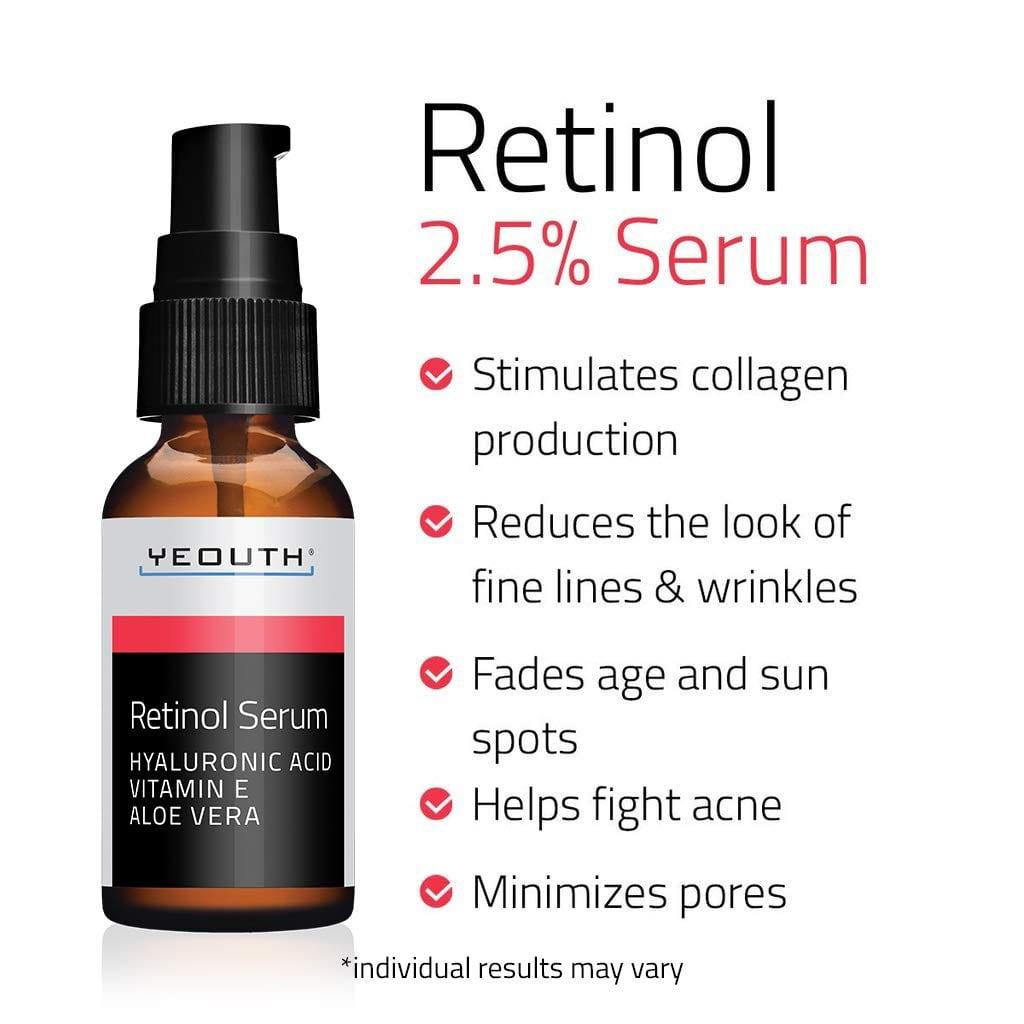 Yeouth Retinol Serum 2.5% with Hyaluronic Acid, Aloe Vera, Vitamin E