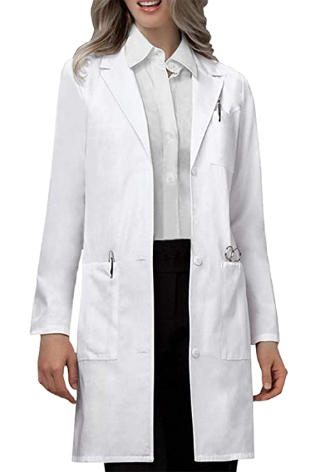 VOGRYE Professional Lab Coat for Women Long Sleeve, White, Unisex