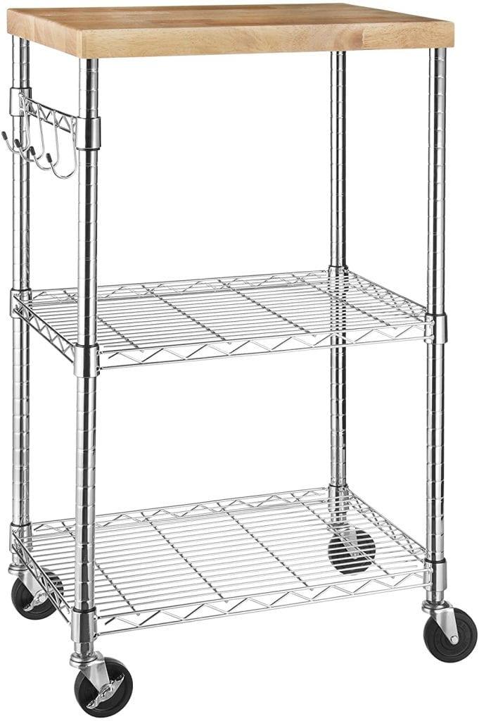 AmazonBasics Rolling Wood Storage Wheeled Microwave Cart