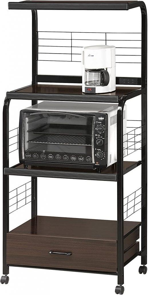 Crown Mark Black Shelf Kitchen Cart