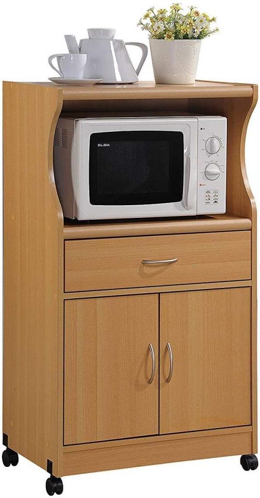 Hodedah Rolling Storage Kitchen Microwave Unit Cart