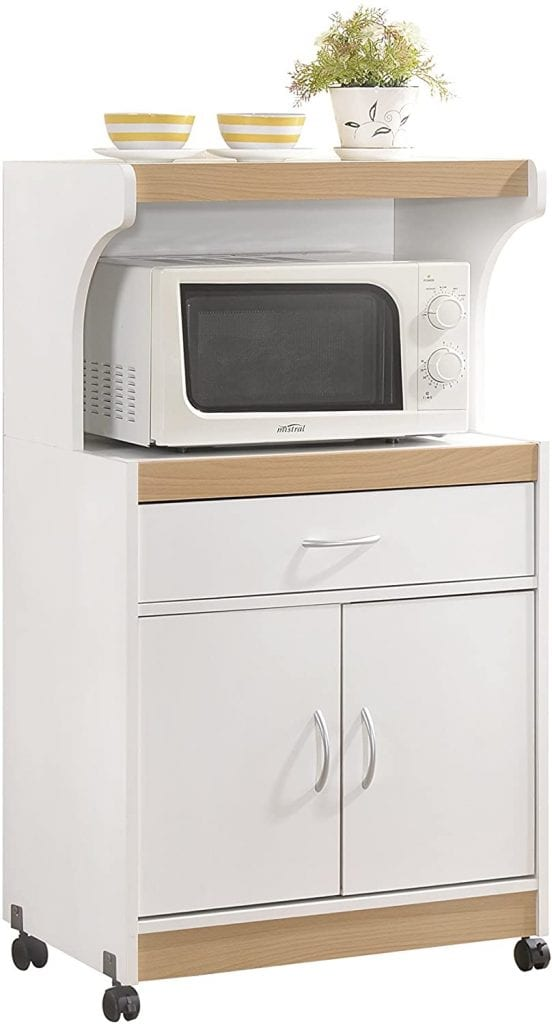 Hodedah White Kitchen Microwave Cart