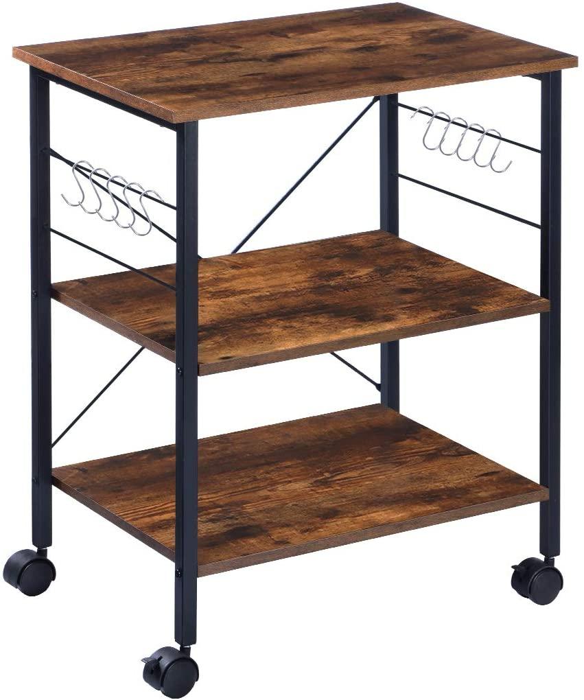 KINGSO Rolling Organiser Kitchen Shelf 3-Tier Microwave Cart