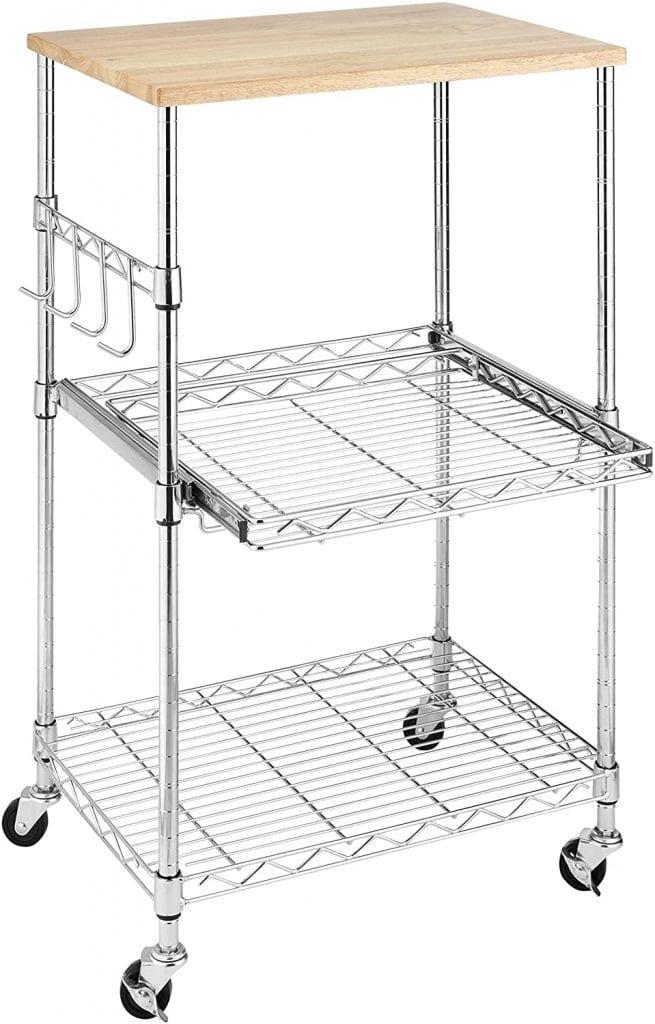 Whitmor Chrome Supreme Safe Food Cutting Shelf Microwave Cart