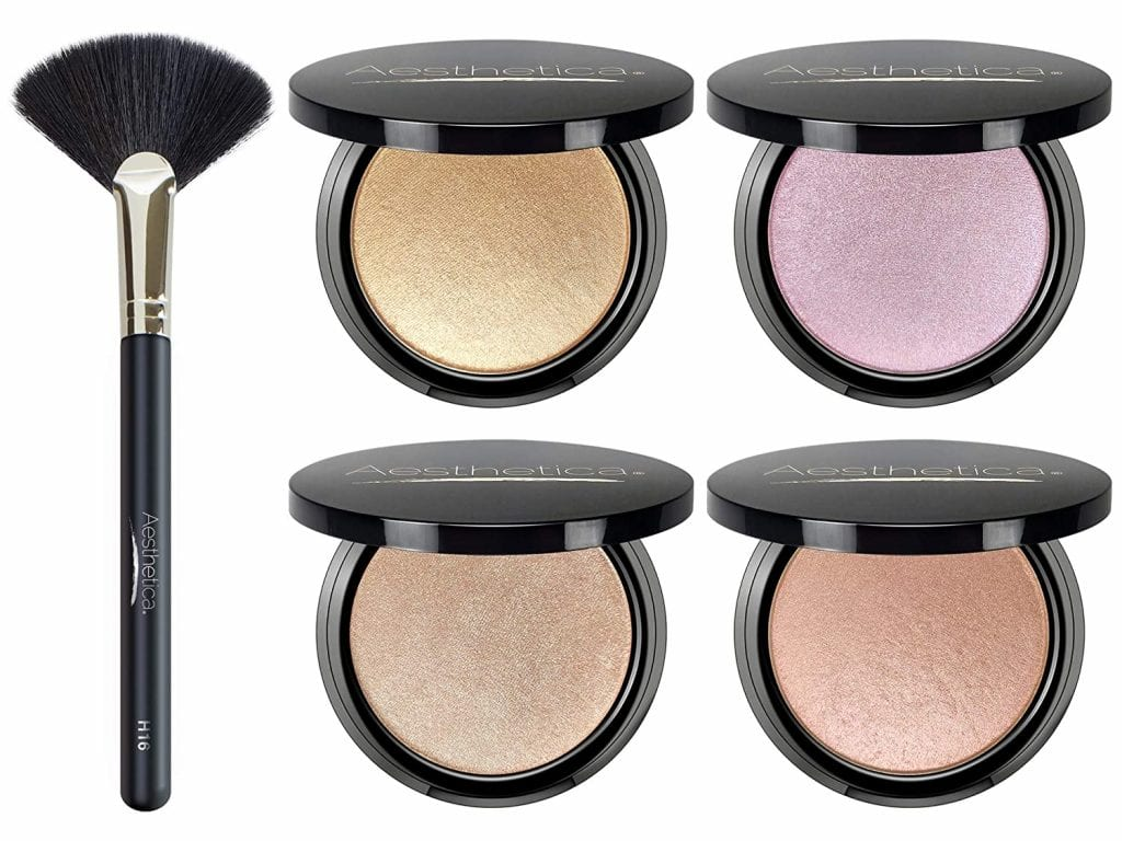 Aesthetica Makeup (4 shades+ Brush) Metallic Shimmer Powder Highlighter