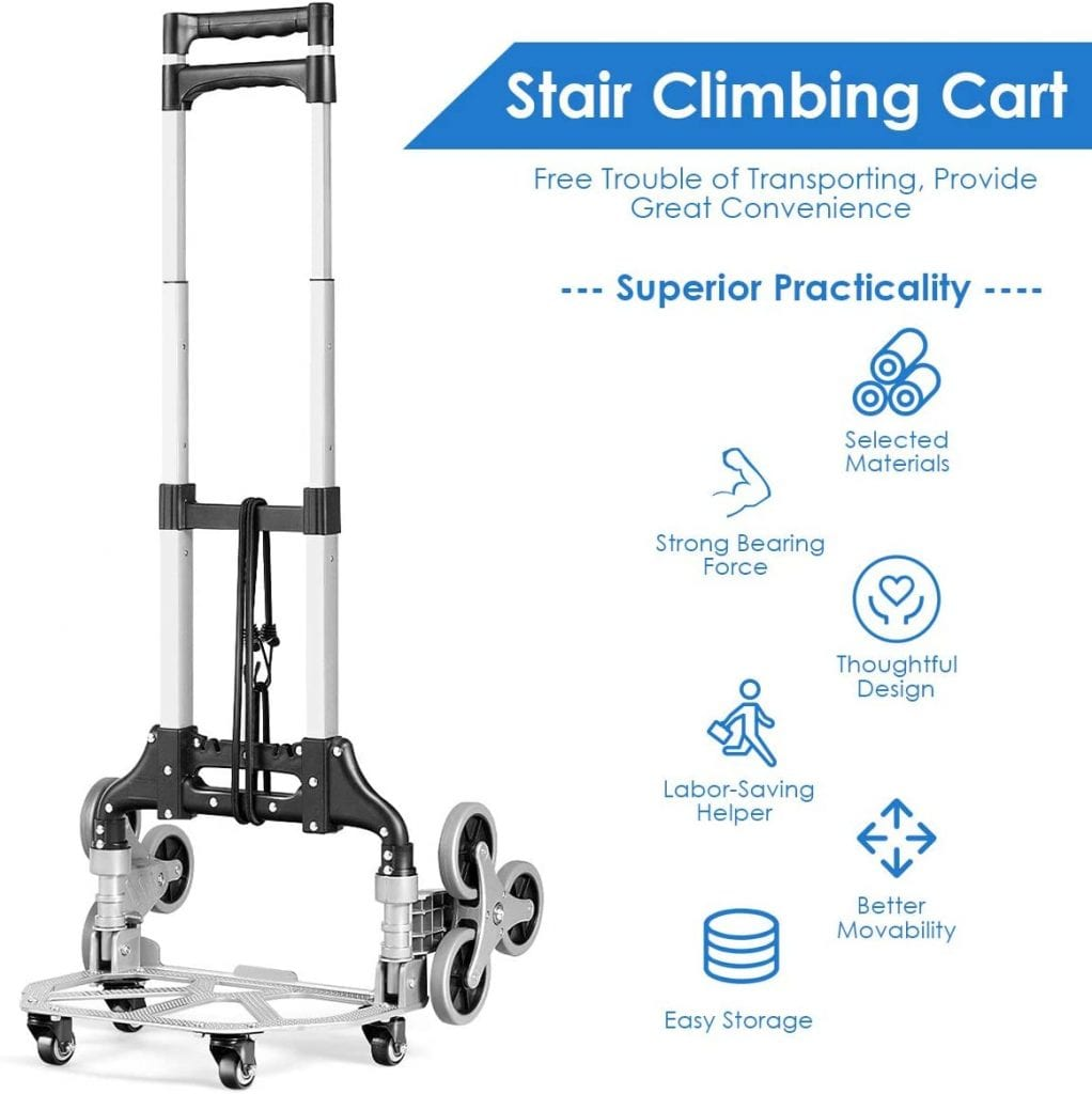 Goplus Portable Stair Climbing Trolley with Bungee Cord