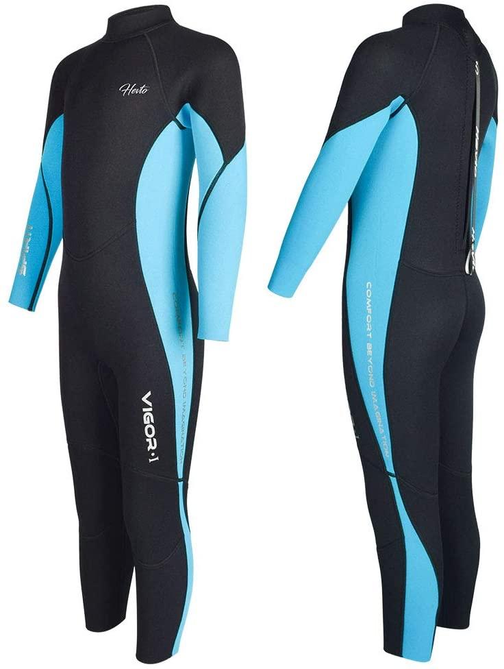 Hevto Black Warm Zip Back Vigour Youth Diving Long Swimsuits