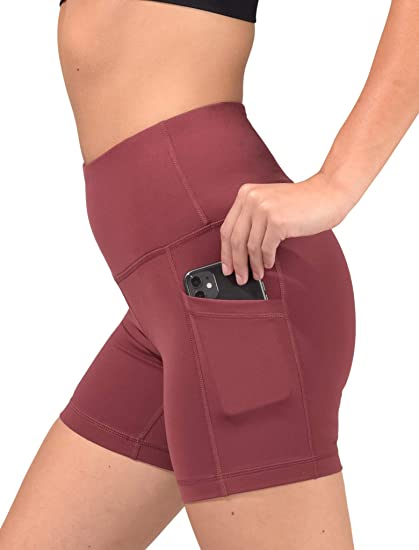 90 Degree By Reflex Pocket Side High Waist Flex Power Bike & Yoga Shorts