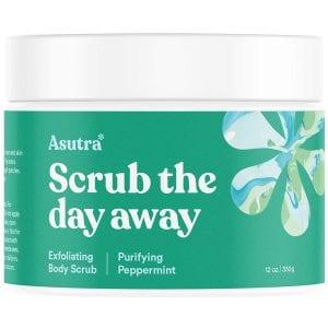 ASUTRA Dead Sea Salt Body Scrub Exfoliator (Purifying Peppermint)