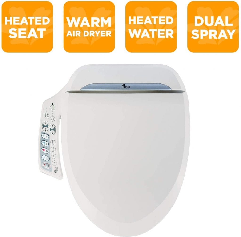 BioBidet Feminine Washing BB-600 White Nozzle Dual Adjustable Seat In Toilet
