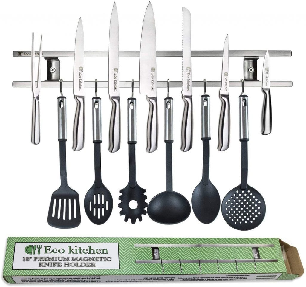 Eco-Kitchen Magnetic Knife Strip With Hooks