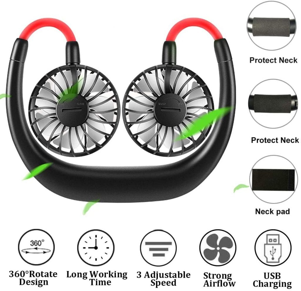 FecPecu New 2000mah Rechargeable neck Fan