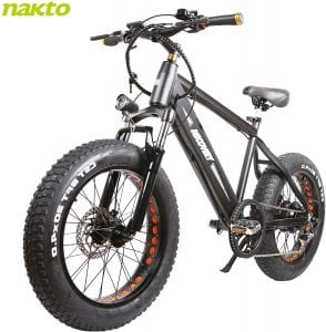 NAKTO 300W Fat Tire Electric Mountain Bike for Adults