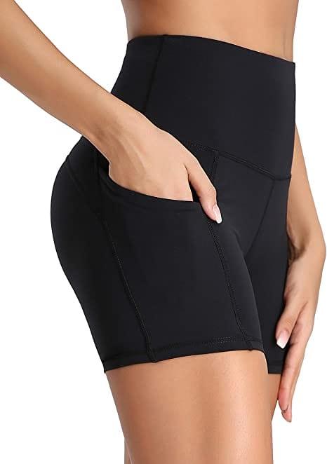 Oalka Running High Waist Pockets Workout/Sports Shorts For Women