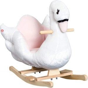 Qaba Plush Kids Ride On Rocking Swan