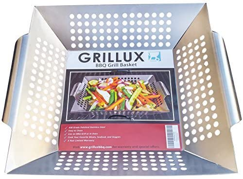 Vegetable Grill Basket - Stainless Steel Wok, Pan, or Smoker