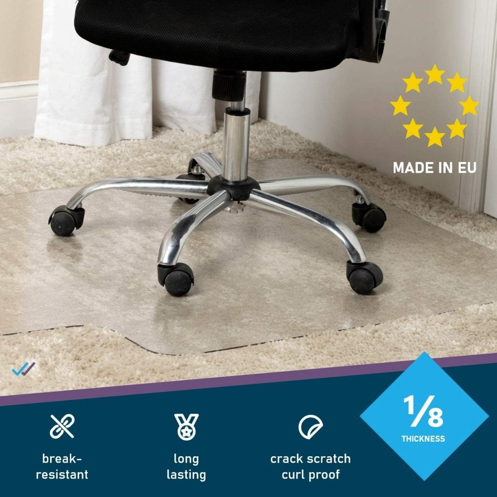 DoubleCheckProducts Sturdy Thick Clear Low Pile Medium Polycarbonate Carpet Chair Mats