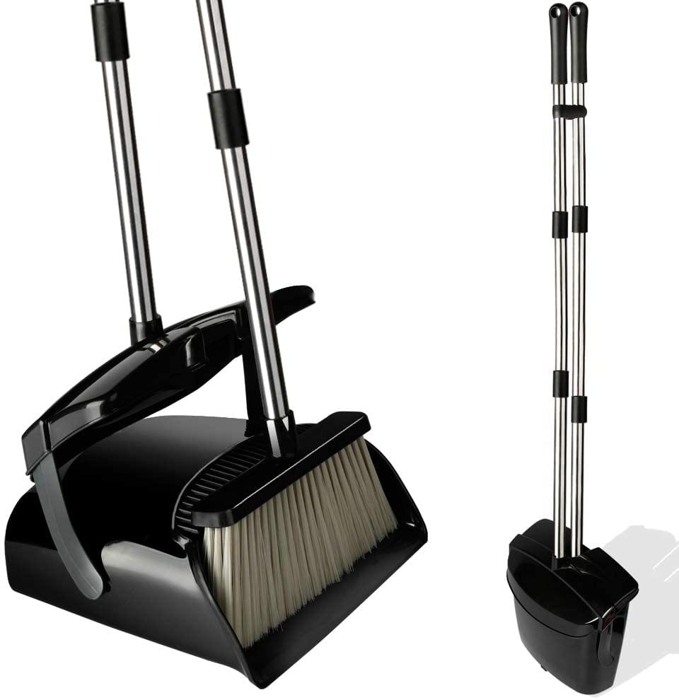 QJQBMAI Broom and Dustpan Set with Lid