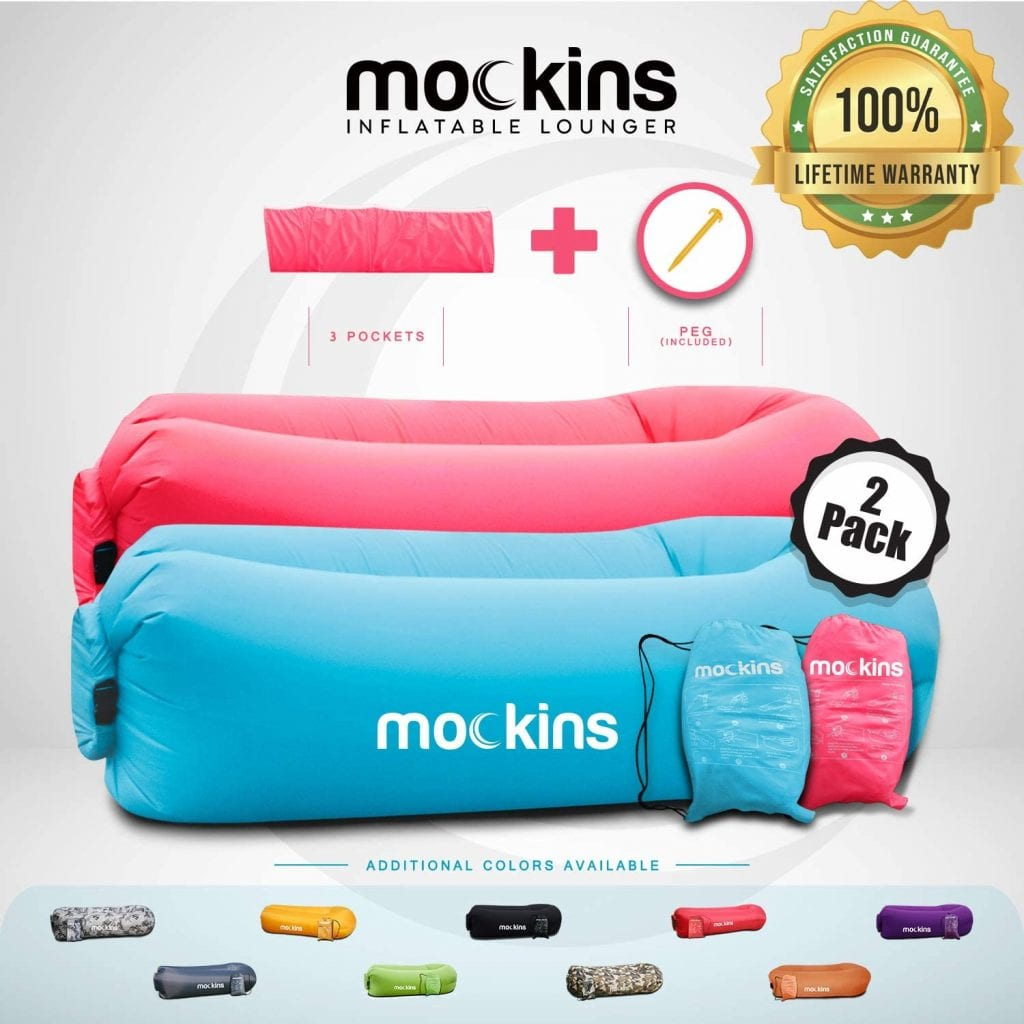 Visit The Mockins Store Portable Camping Chair Travelling Inflatable Air Pink & Blue Lounger
