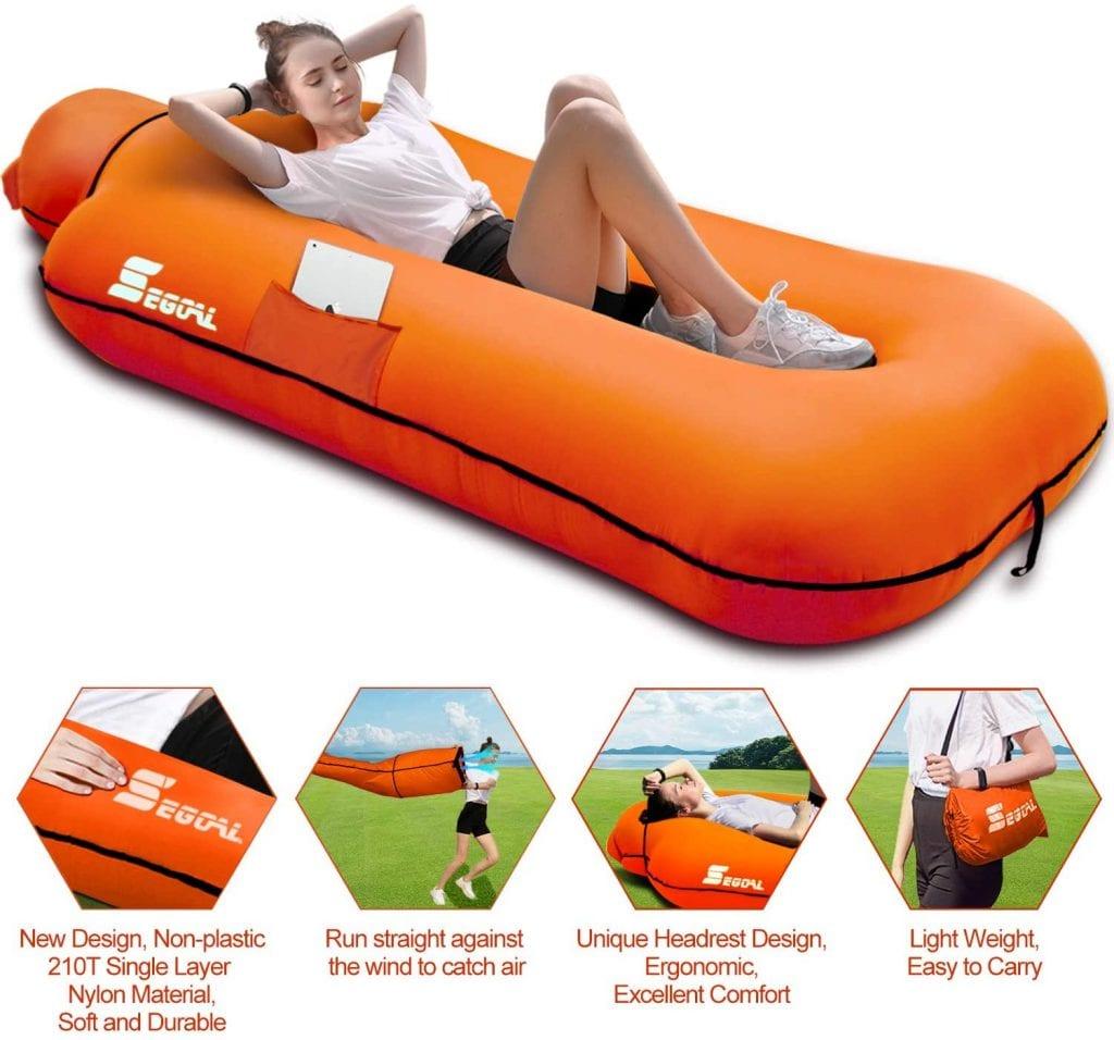 Visit The SEGOAL Nylon Pump Less Park/Beach Chair Camps Beach Inflatable Lounger