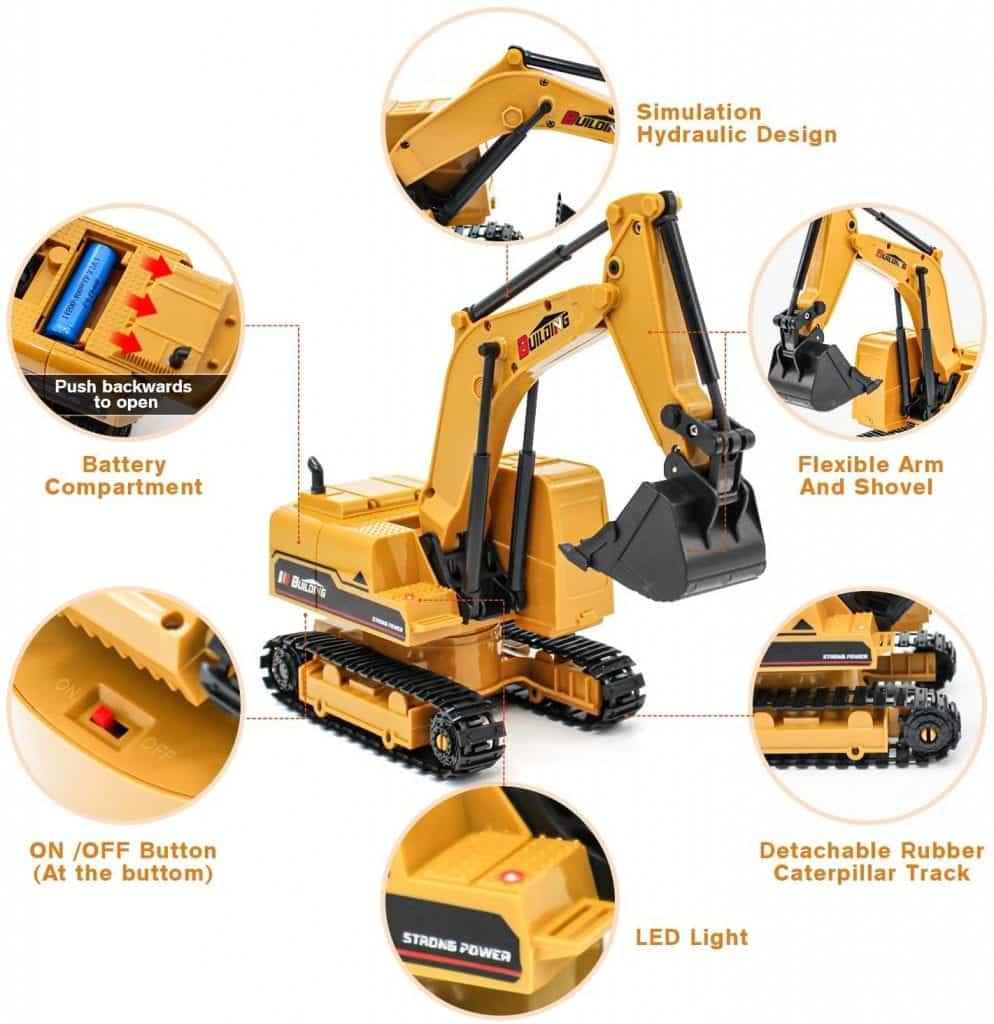 1:24 Remote Control Excavator Toy Tractor