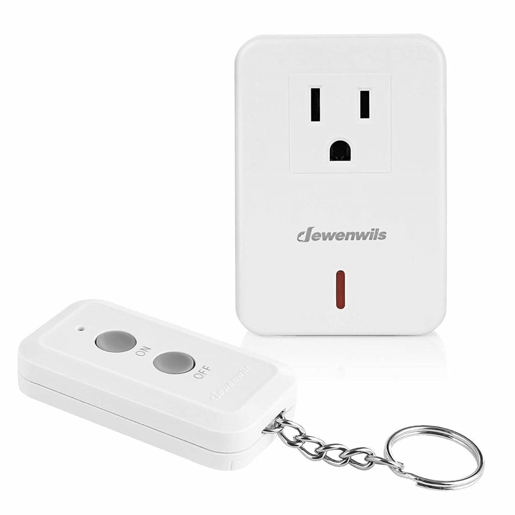 Dewenwills Compact Indoor Wireless Expandable 100Ft White Remote Control Switch