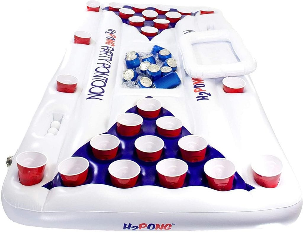 Play Platoon H2PONG Inflatable Beer Pong Raft With Cooler