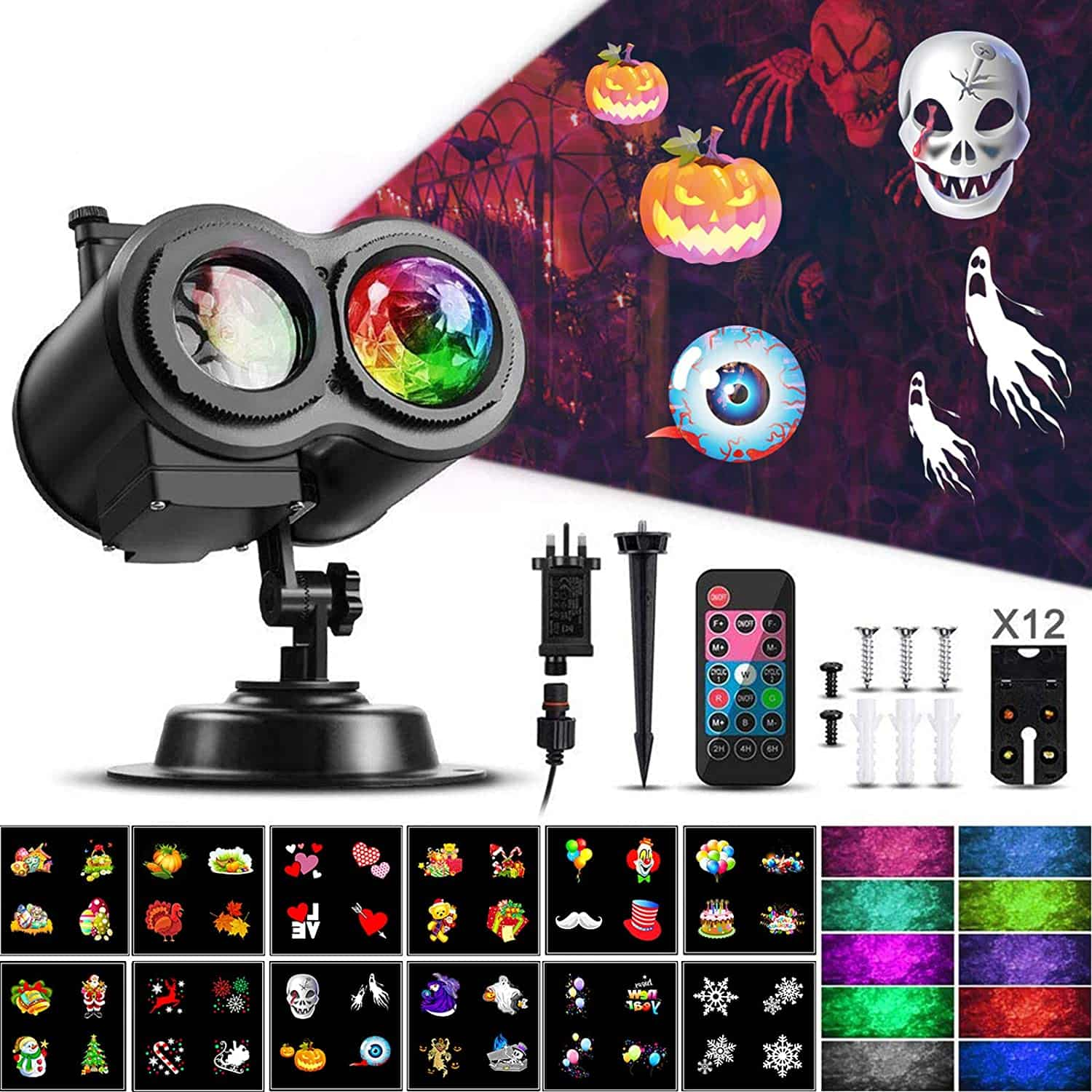 ACVCY LED Rotation Moving Projector 10 Colors & 12 Slides For Christmas Garden