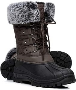 Faivykyd Women's Winter Boots Faux Fur Mid - Calf Lace Up