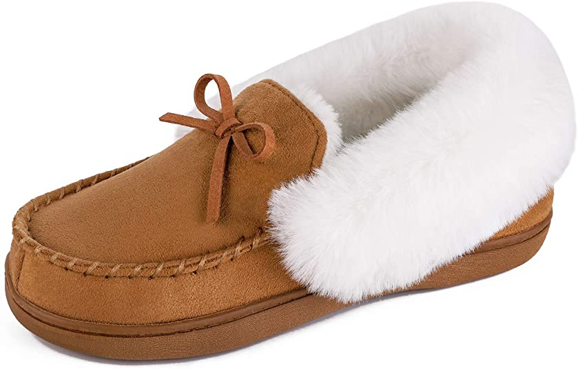 HomeIdeas Faux Fur Lined Women's Suede House Slippers