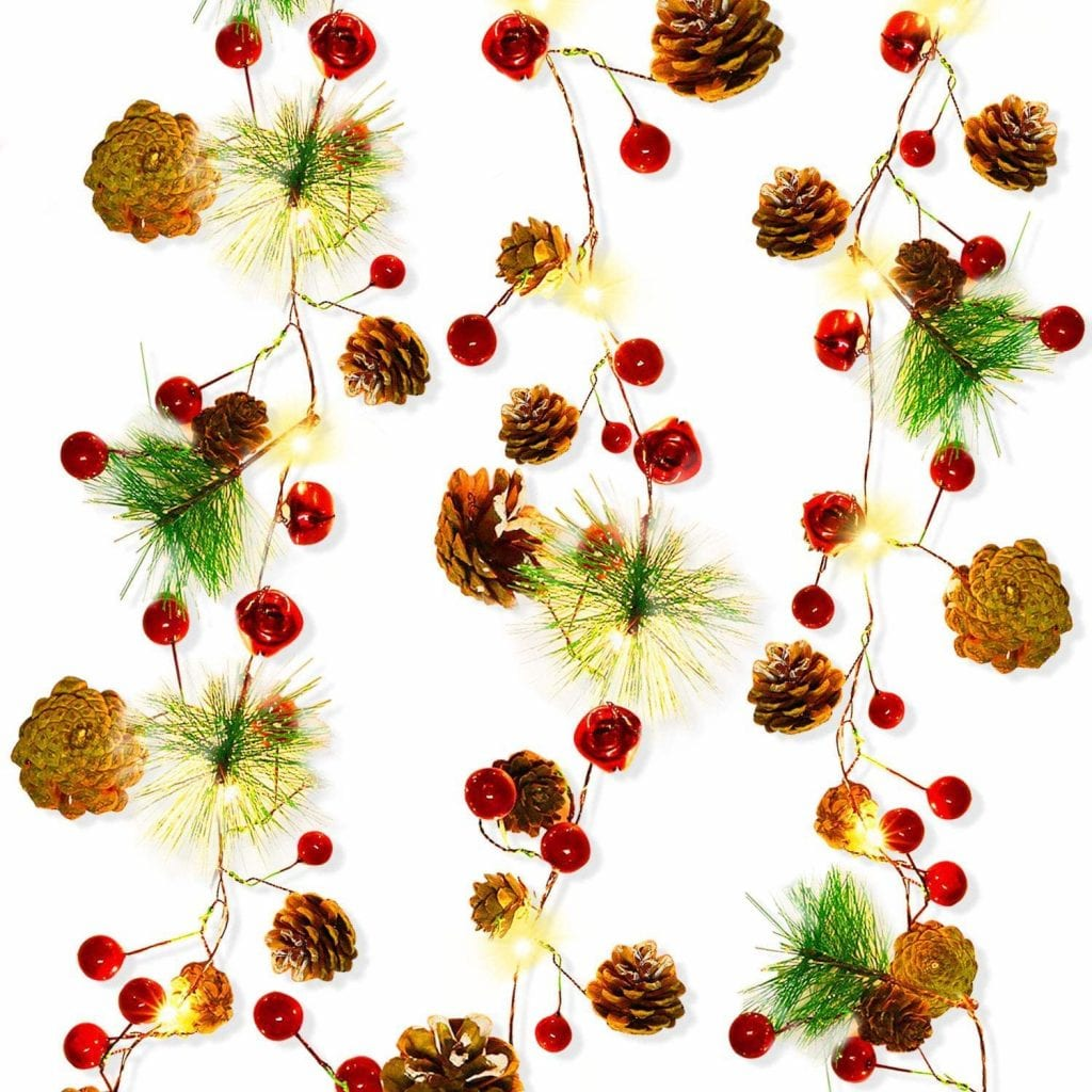 Pinecone Red Berry Bell Christmas String Lights