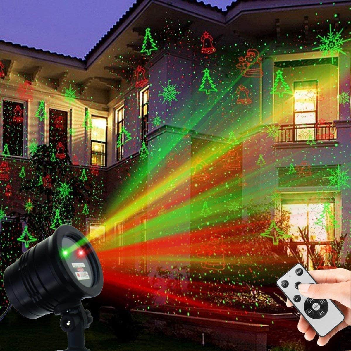 YINUO Light Green-Red Spotlight Decorating Pattern Outdoor Christmas Light Projector