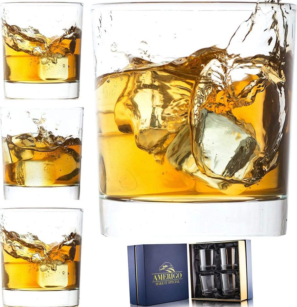 Amerigo Luxury Crystal Scotch & Whiskey Base Heavy Tumbler Set