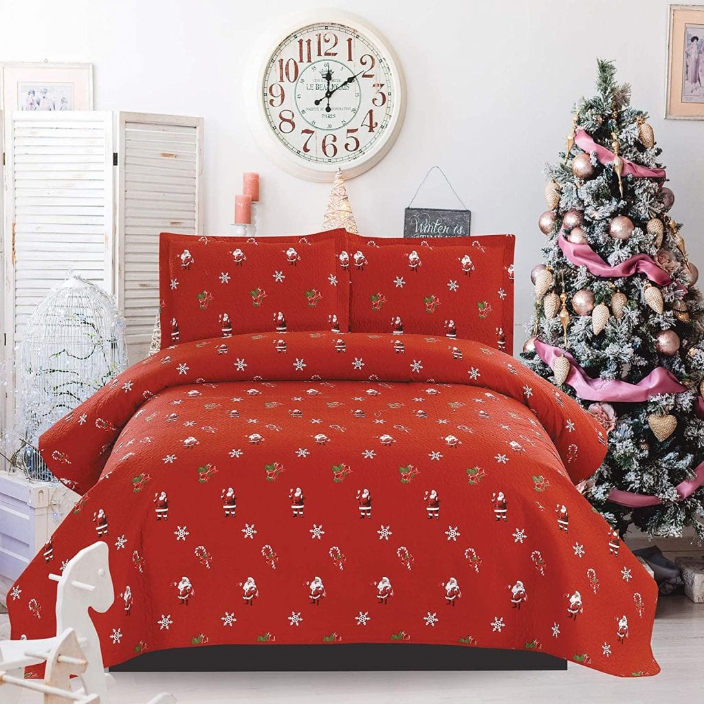 Christmas Lodge Reversible Quilt Set With Pillow Shams