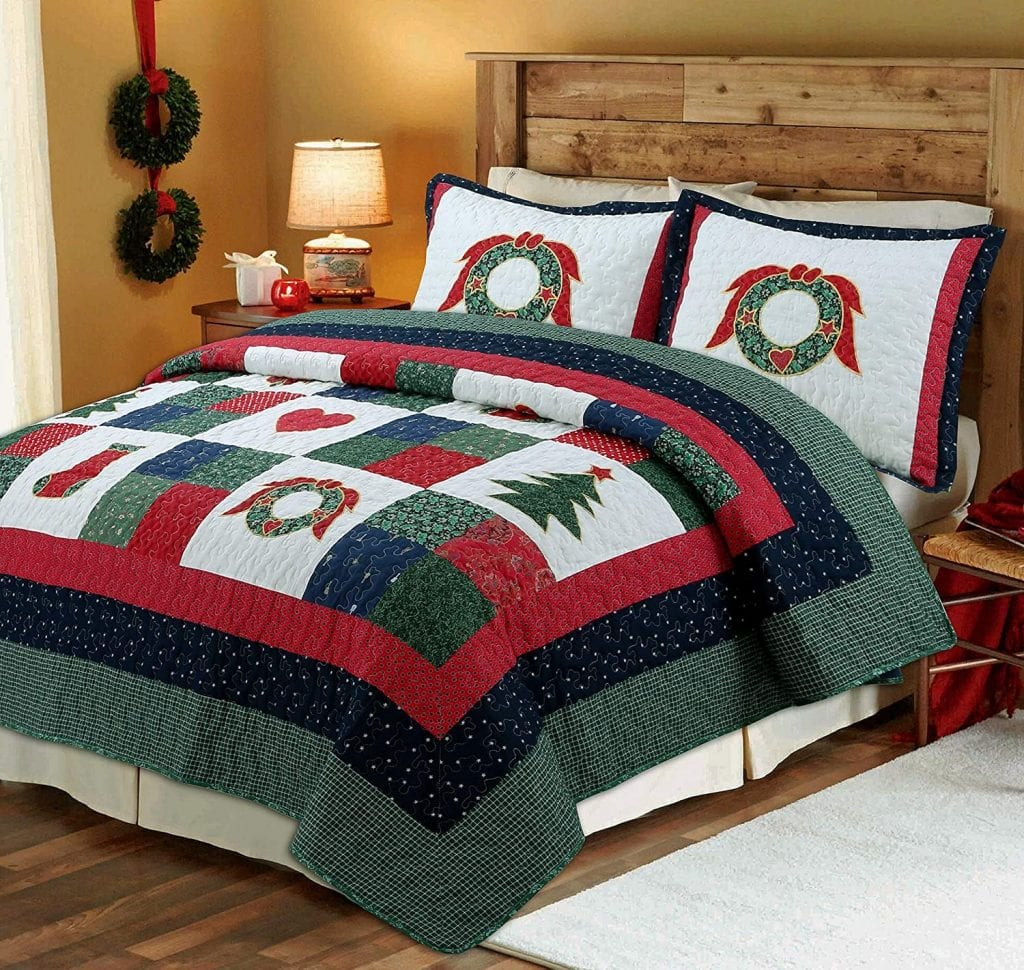Cozy Line Home Fashions Christmas Three-Piece Quilted Bedspread